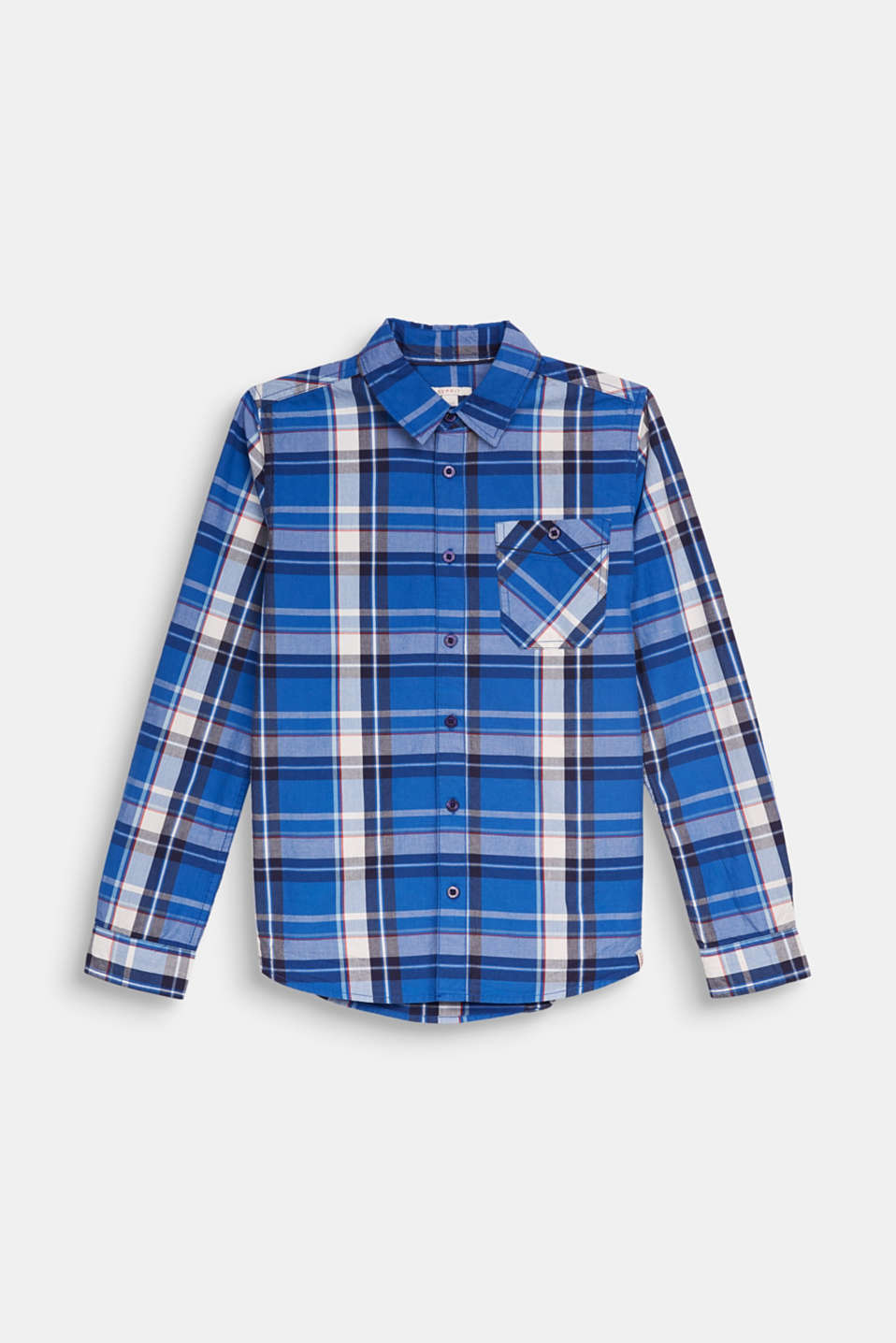 Check shirt in 100% cotton, LCELECTRIC BLUE, detail image number 0