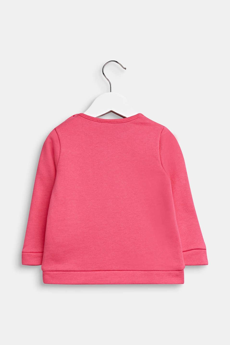 Heart print sweatshirt, 100% cotton, LCCANDY PINK, detail image number 1