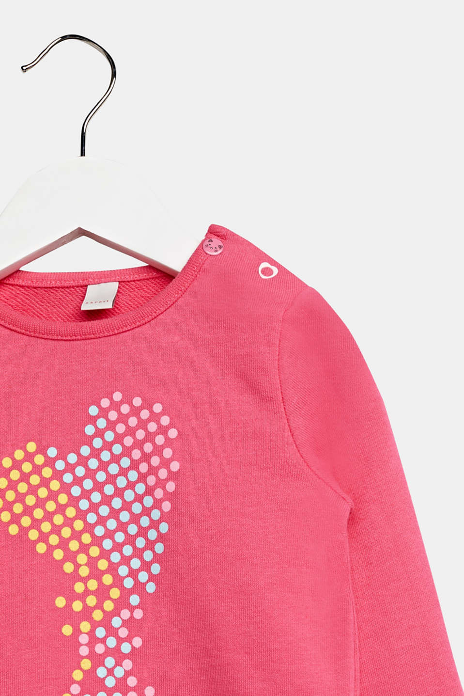 Heart print sweatshirt, 100% cotton, LCCANDY PINK, detail image number 2