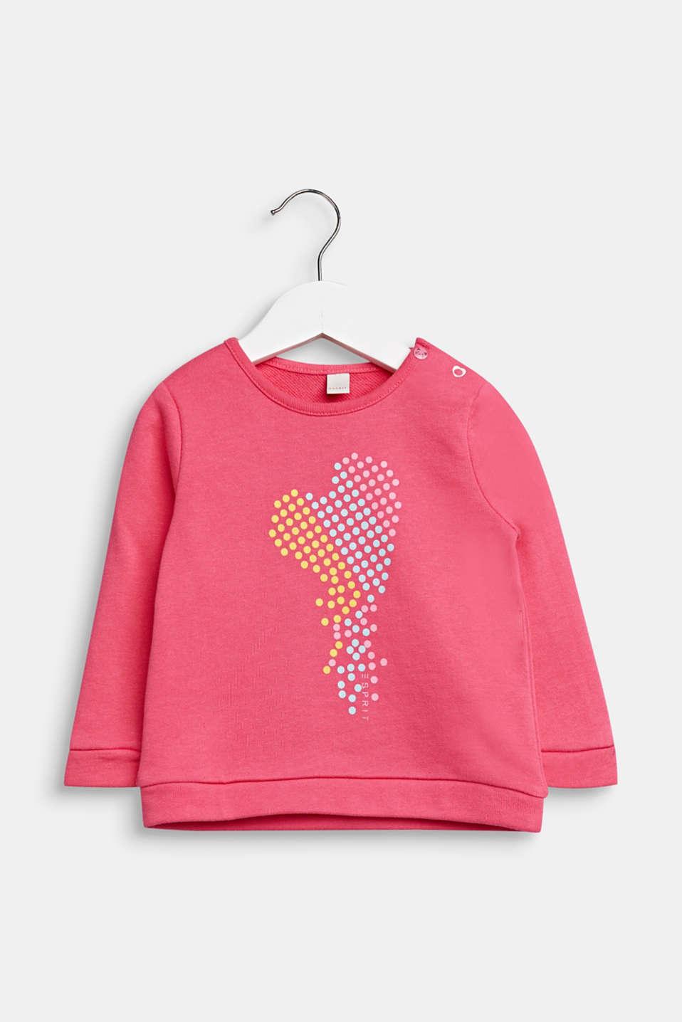 Heart print sweatshirt, 100% cotton, LCCANDY PINK, detail image number 0