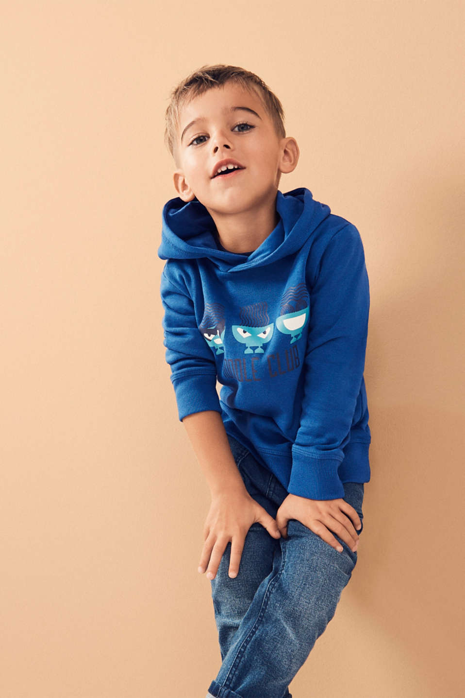 100% cotton sweatshirt fabric top with a print, INFINITY BLUE, detail image number 2