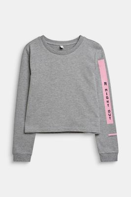 Statement print sweatshirt, LCMID HEATHER GR, detail