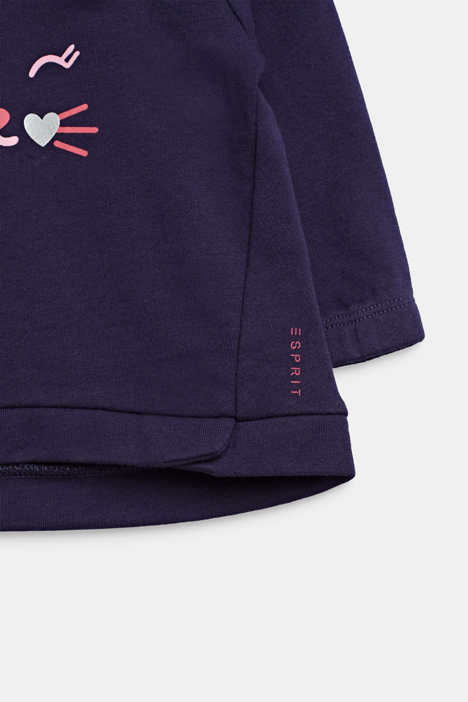 Cat face sweatshirt, 100% cotton, LCMIDNIGHT BLUE, detail image number 3
