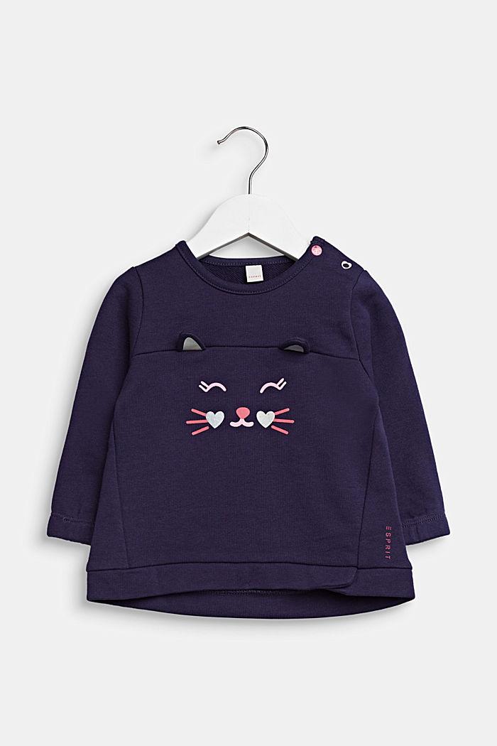 Sweatshirt med kattehoved, 100% bomuld, MIDNIGHT BLUE, detail image number 0
