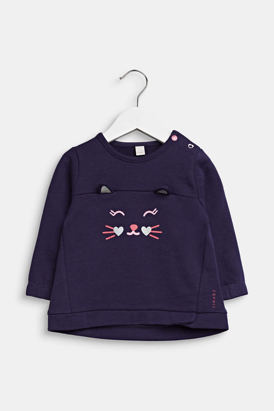Cat face sweatshirt, 100% cotton, LCMIDNIGHT BLUE, detail image number 0