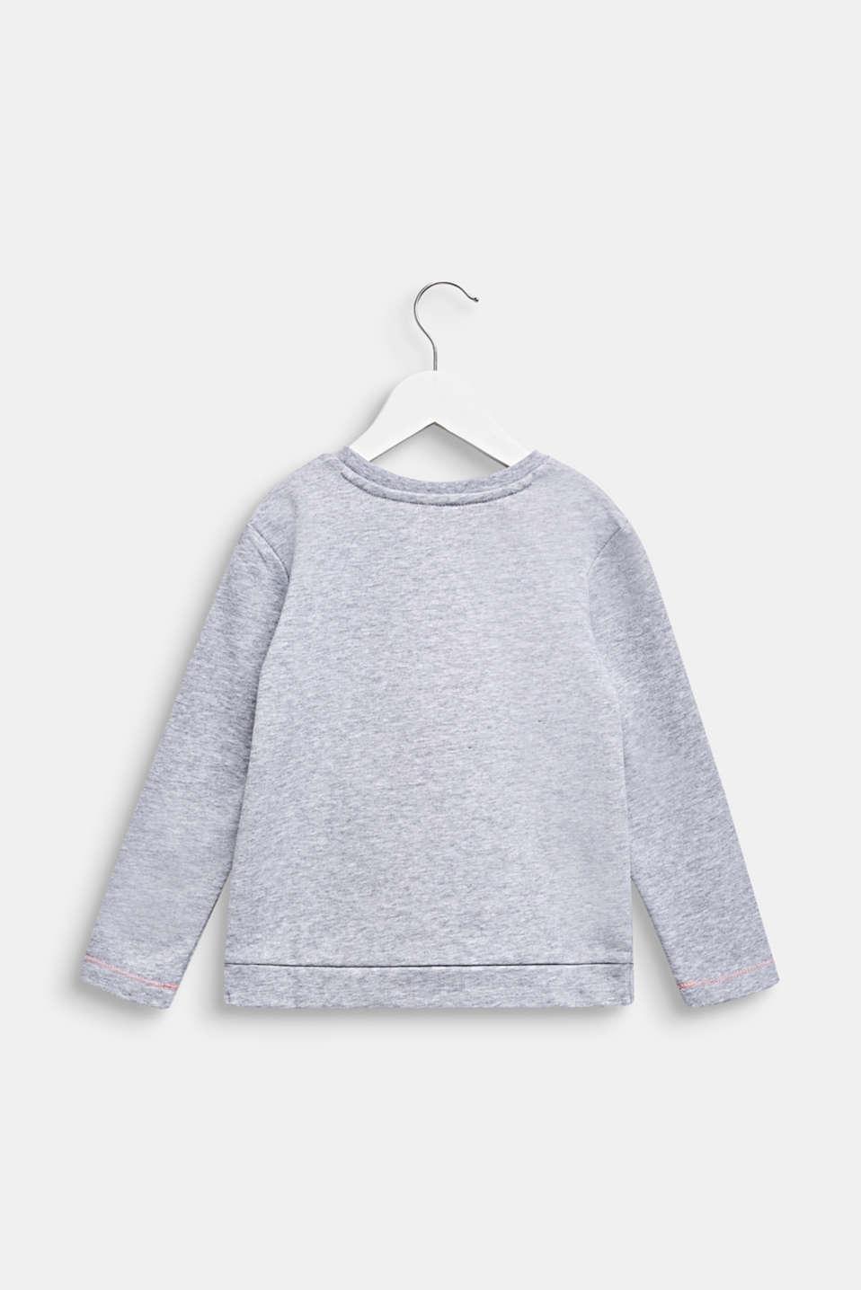 Printed, pleat detail sweatshirt, MID HEATHER GR, detail image number 1