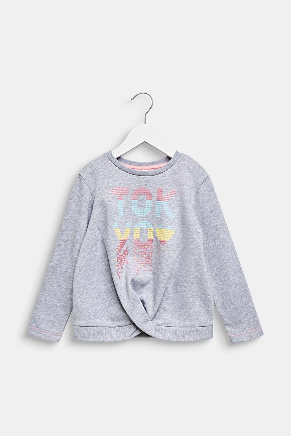 Printed, pleat detail sweatshirt, MID HEATHER GR, detail image number 0