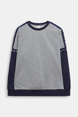 Colour block sweatshirt with a logo, 100% cotton, LCDARK HEATHER G, detail