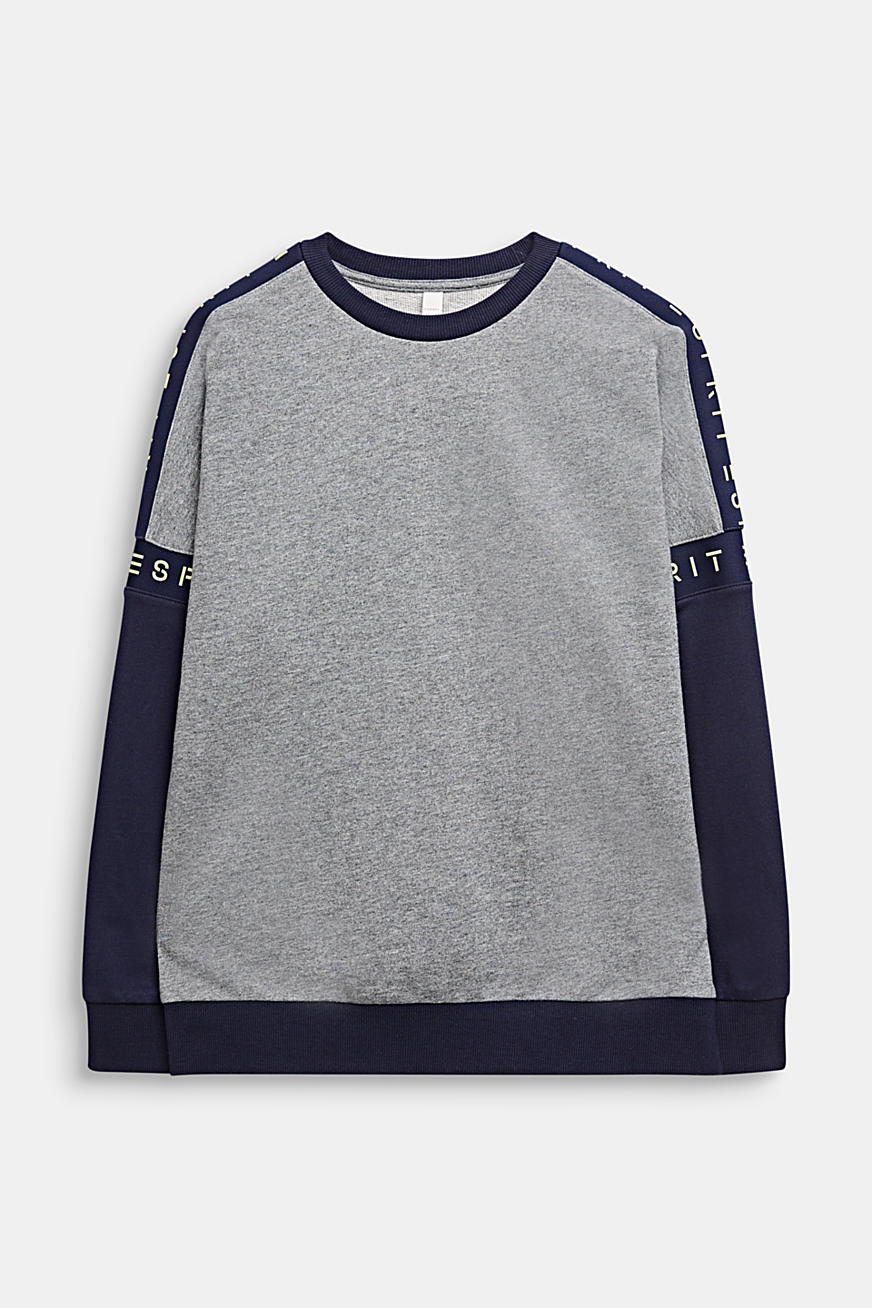 Sweat-shirt colour blocking à logo, 100 % coton