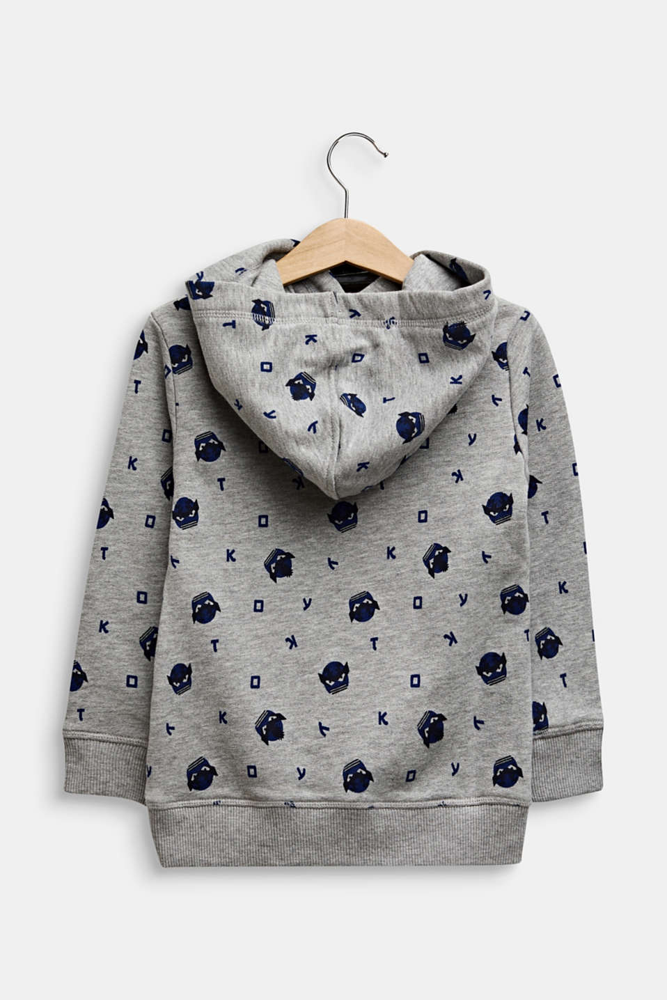 Sweatshirt hoodie with an all-over print, MID HEATHER GR, detail image number 1