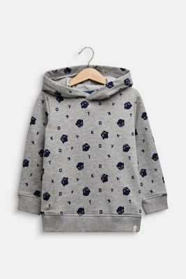 Sweatshirt hoodie with an all-over print, MID HEATHER GR, detail