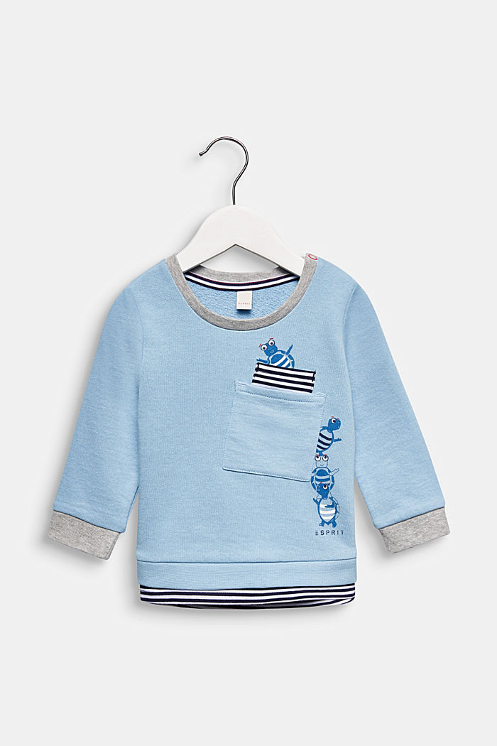 Sweatshirt met print, 100% katoen, LIGHT BLUE, detail image number 0