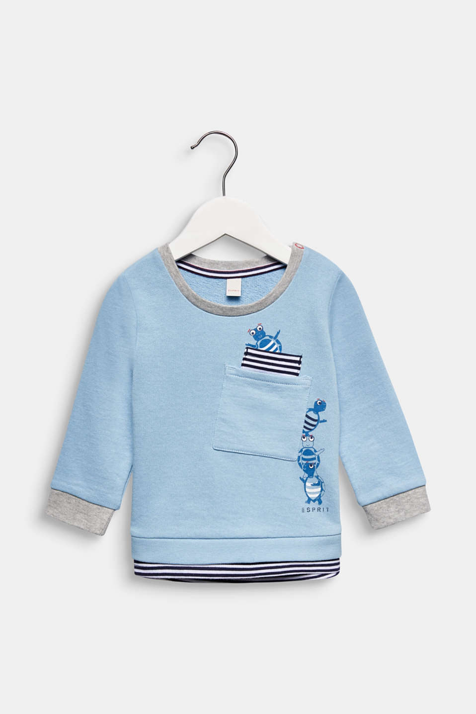 Sweatshirt with a print, 100% cotton, LCLIGHT BLUE, detail image number 0