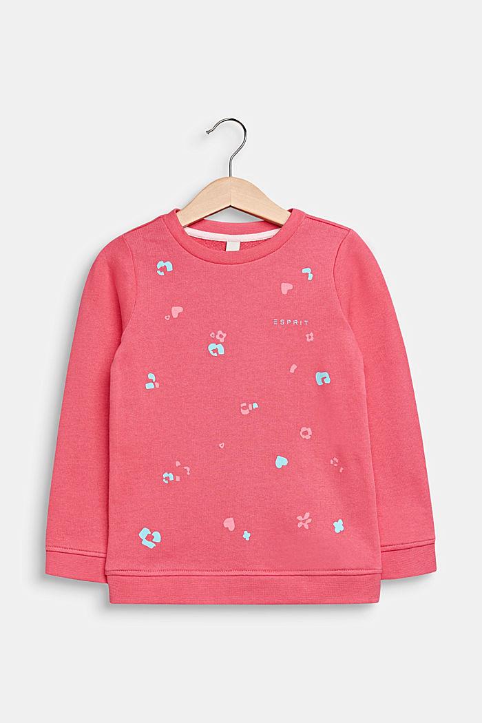 Sweatshirt met print, 100% katoen, DARK PINK, detail image number 0