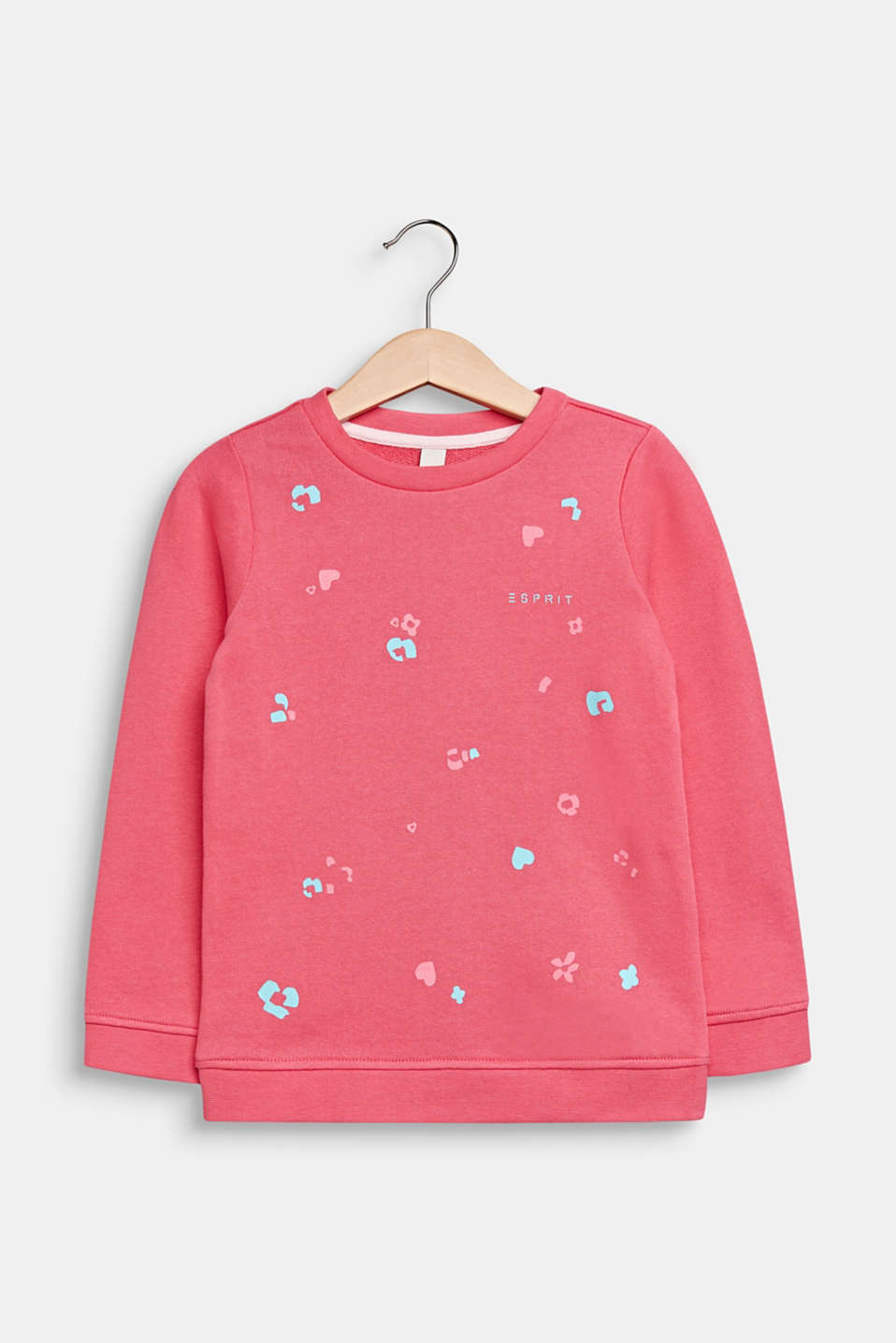 Sweatshirt with a print, 100% cotton, DARK PINK, detail image number 0