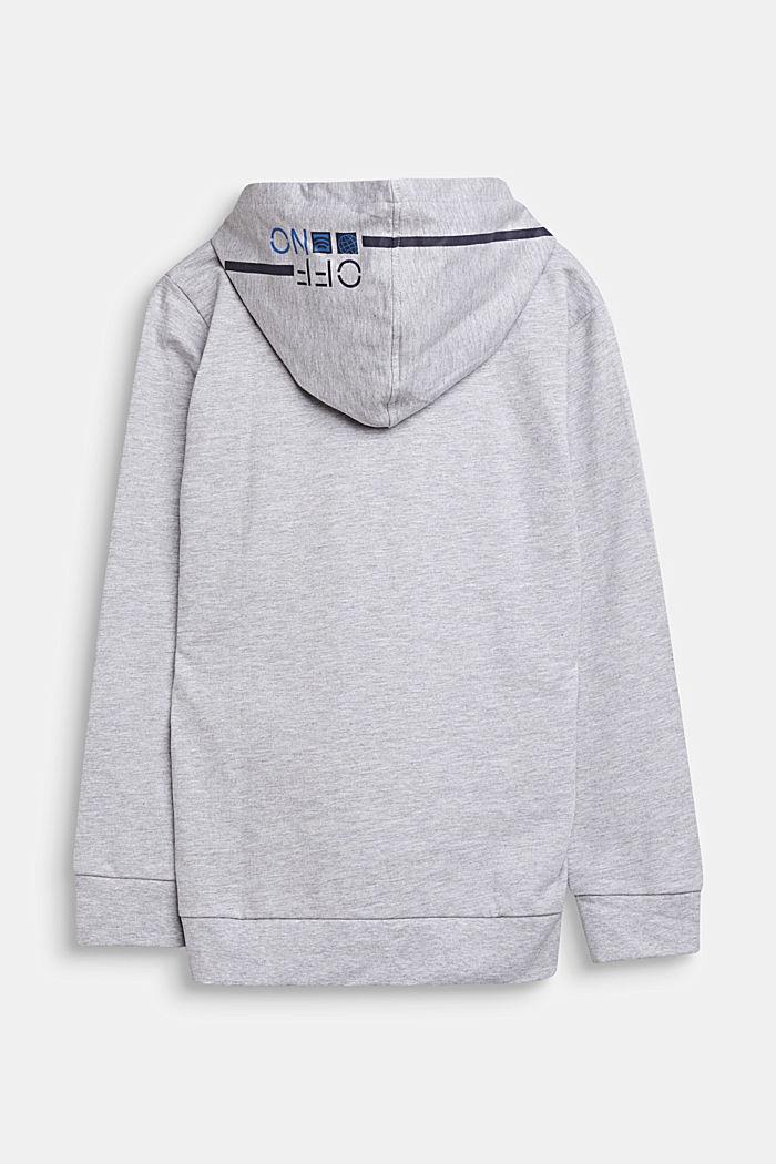 Sudadera con capucha y estampado, 100% algodón, HEATHER SILVER, detail image number 1