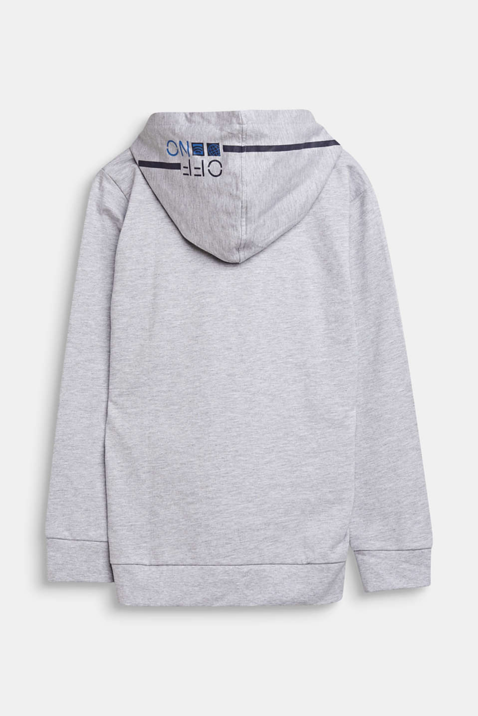 Sweatshirt hoodie with print, 100% cotton, LCHEATHER SILVER, detail image number 1