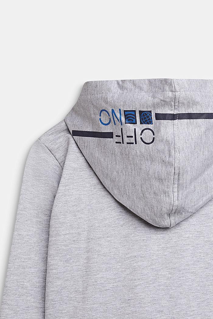 Sudadera con capucha y estampado, 100% algodón, HEATHER SILVER, detail image number 2