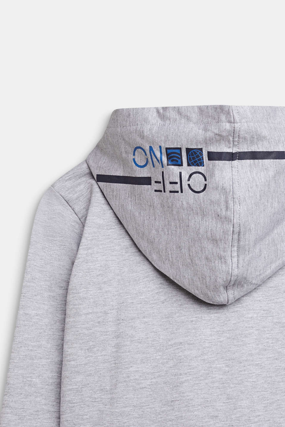 Sweatshirt hoodie with print, 100% cotton, LCHEATHER SILVER, detail image number 2
