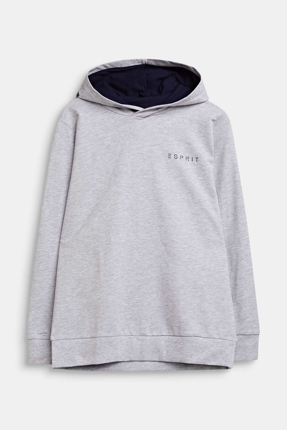 Sweatshirt hoodie with print, 100% cotton, LCHEATHER SILVER, detail image number 0