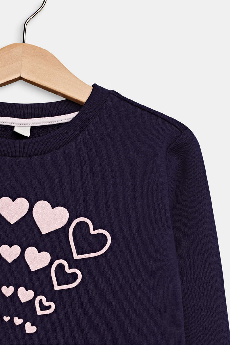 Sweatshirt with a glitter print, 100% cotton, NIGHT BLUE, detail image number 2