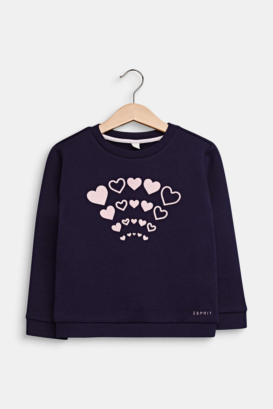 Sweatshirt with a glitter print, 100% cotton, NIGHT BLUE, detail image number 0