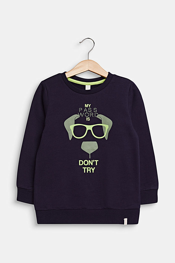 Sweatshirt with a print, 100% cotton, NIGHT BLUE, detail image number 0