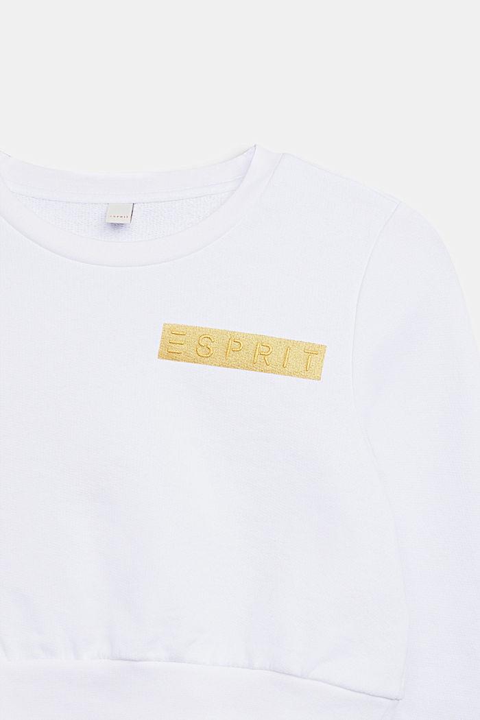 Cropped logo sweatshirt, WHITE, detail image number 2