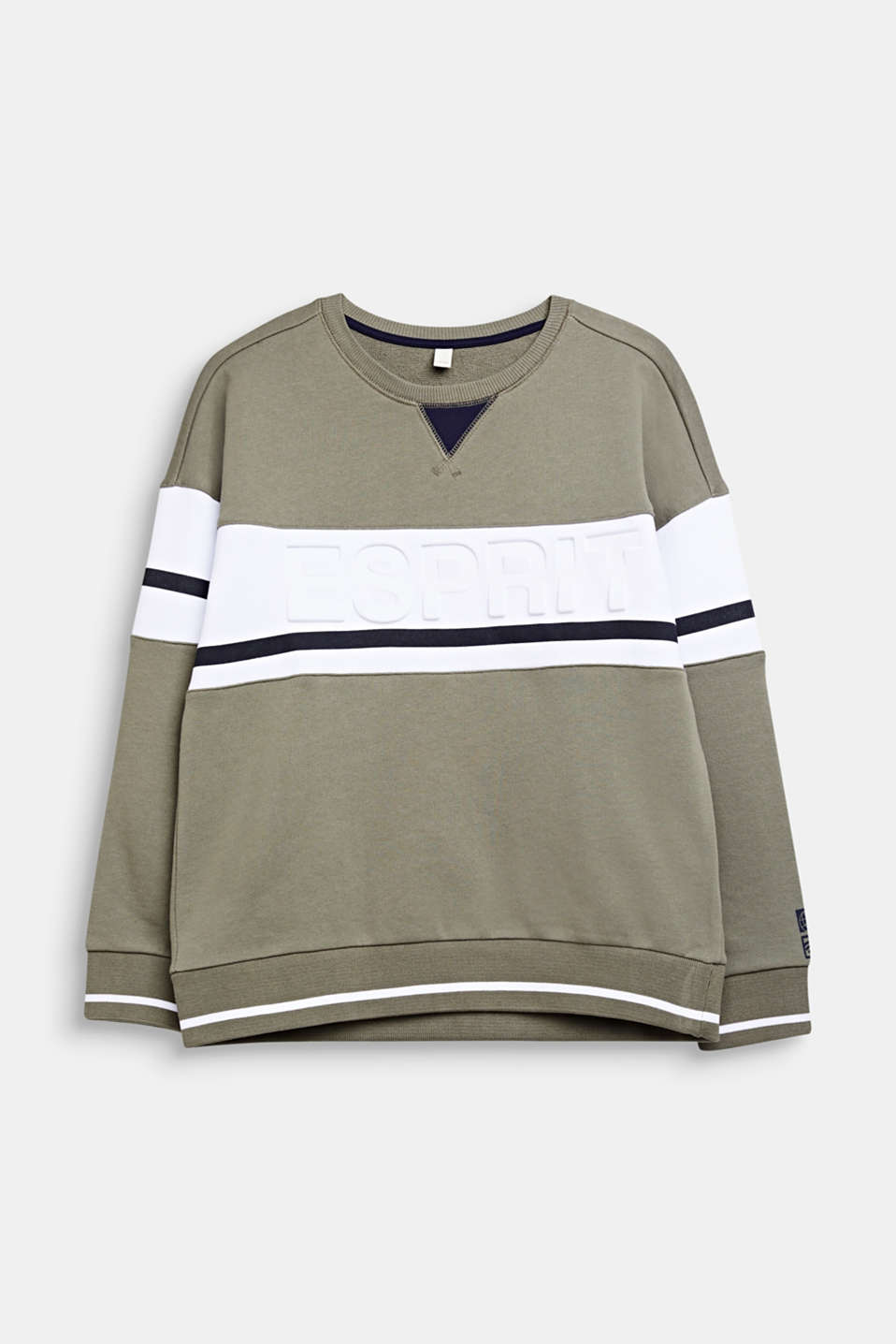 Esprit - Sweatshirt with stripes and a logo