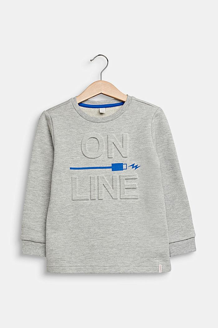 Print-Sweatshirt mit 3D-Prägung, HEATHER SILVER, detail image number 0