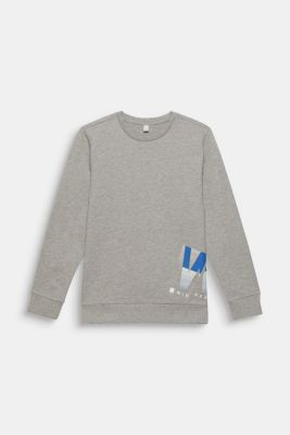 Melange sweatshirt with a positioned print, LCMID HEATHER GR, detail