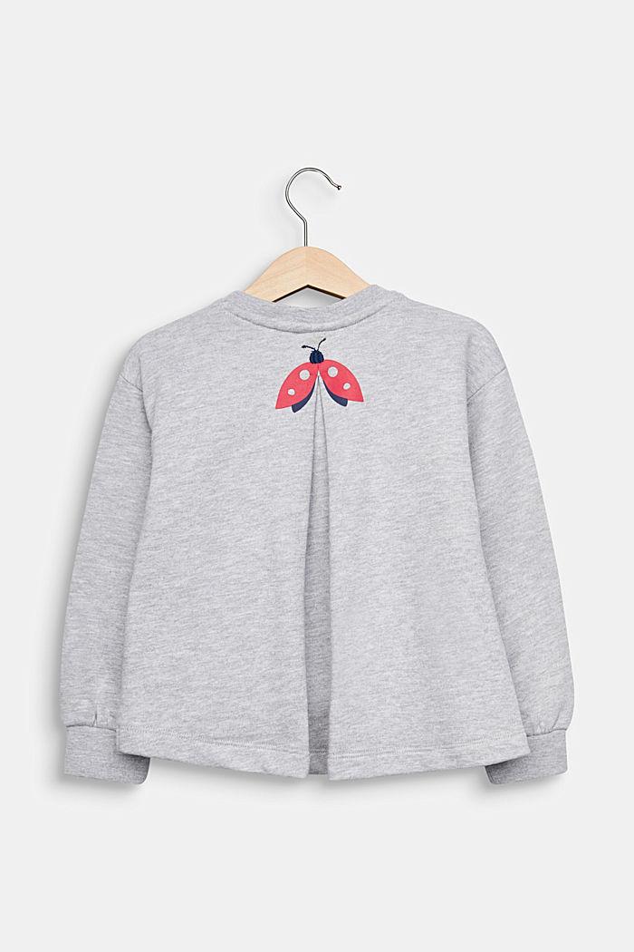 Sweatshirt met stolpplooi en print, HEATHER SILVER, detail image number 1