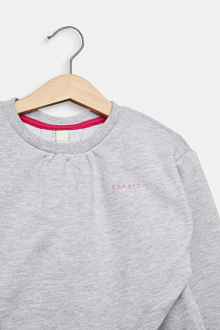 Sweatshirt met stolpplooi en print, HEATHER SILVER, detail image number 2