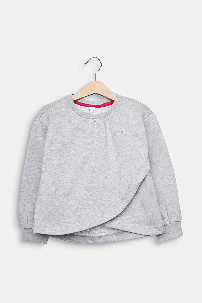Sweatshirt met stolpplooi en print, HEATHER SILVER, detail image number 0
