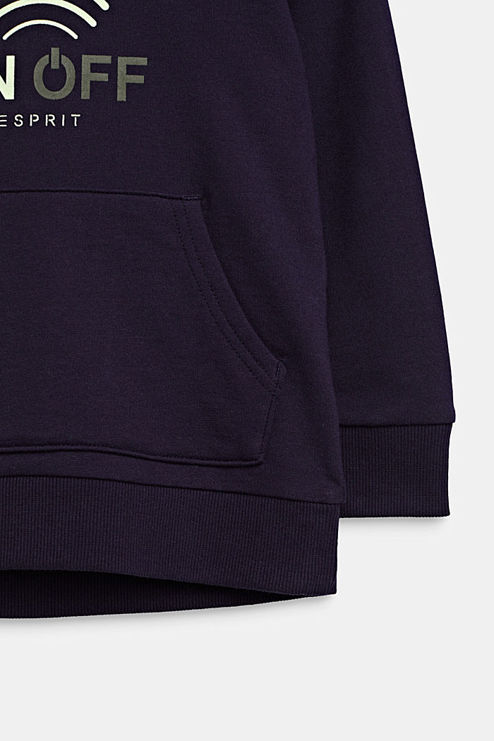 GLOW IN THE DARK hoodie, 100% cotton, NIGHT BLUE, detail image number 2