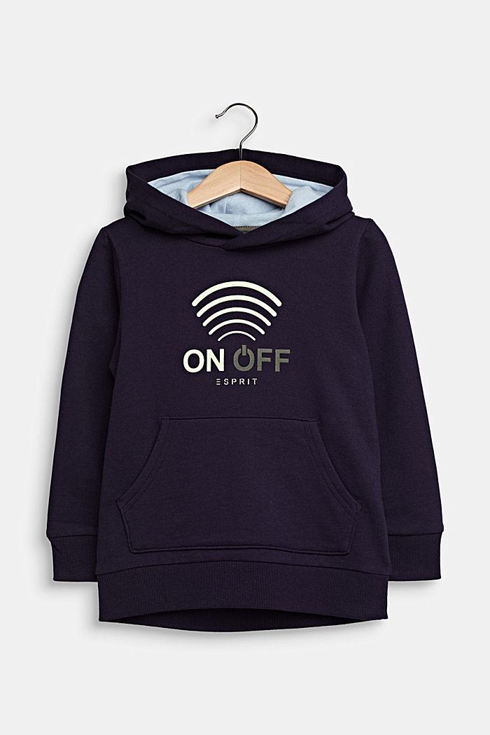 GLOW IN THE DARK hoodie, 100% cotton, NIGHT BLUE, detail image number 0