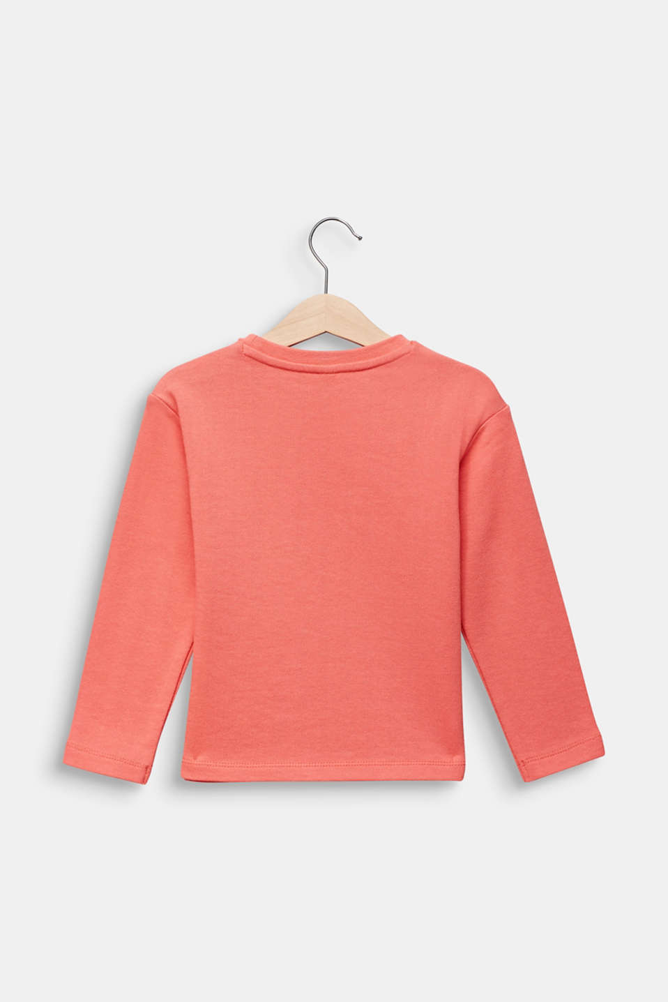 Sweatshirt with a print, 100% cotton, CORAL, detail image number 1