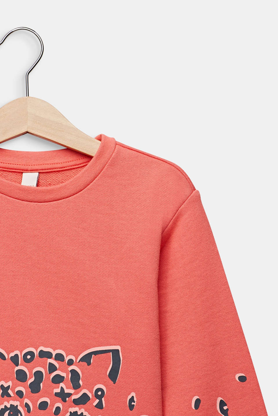 Sweatshirt with a print, 100% cotton, CORAL, detail image number 2