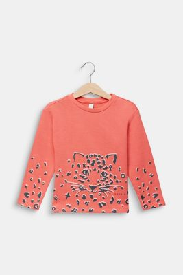 Sweatshirt with a print, 100% cotton, CORAL, detail