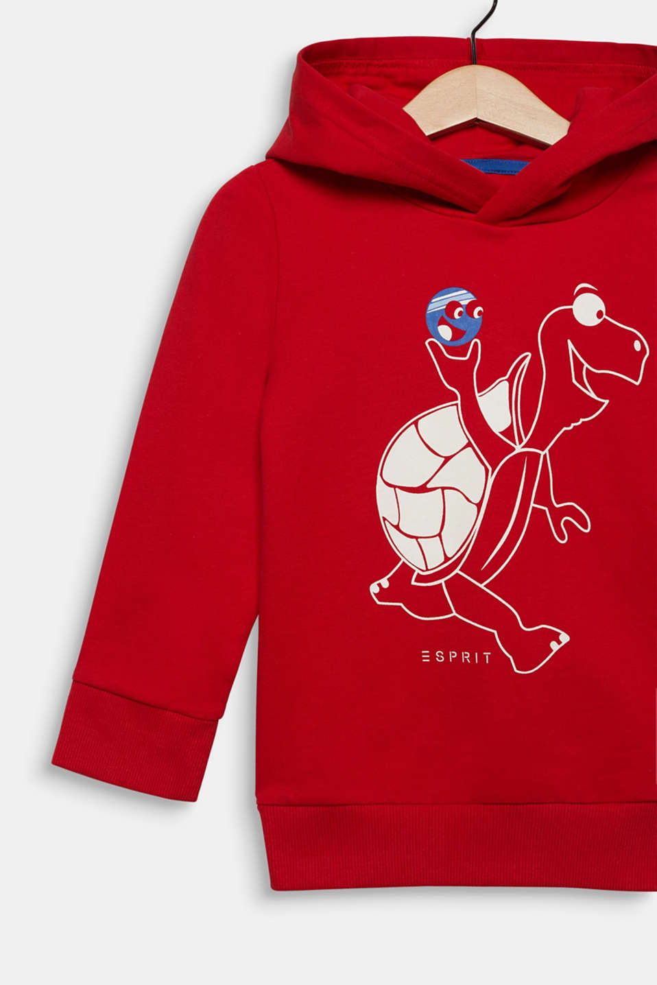 Sweatshirt hoodie with a turtle print, cotton, RED, detail image number 2