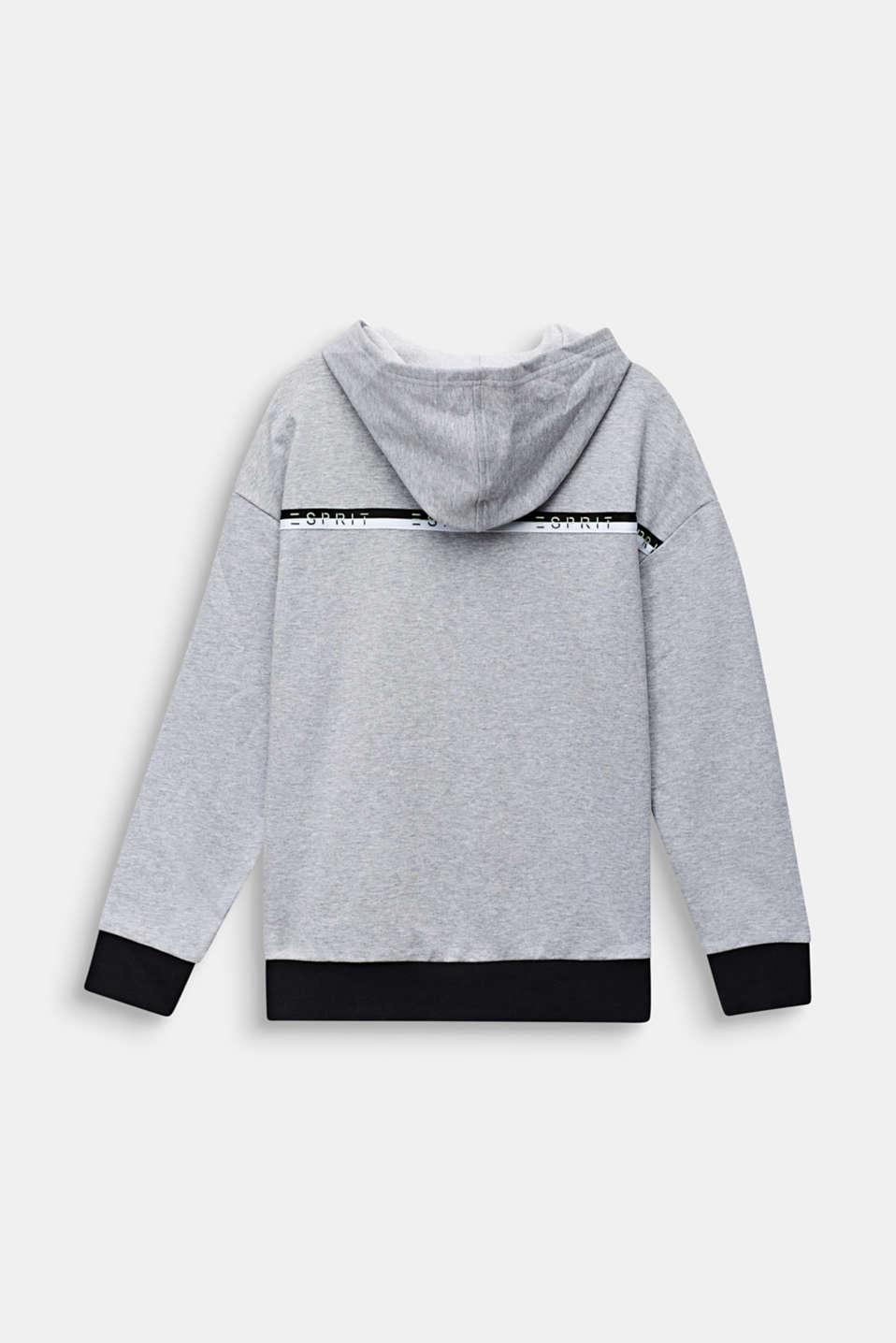 Sweatshirt hoodie, 100% cotton, LCHEATHER SILVER, detail image number 1