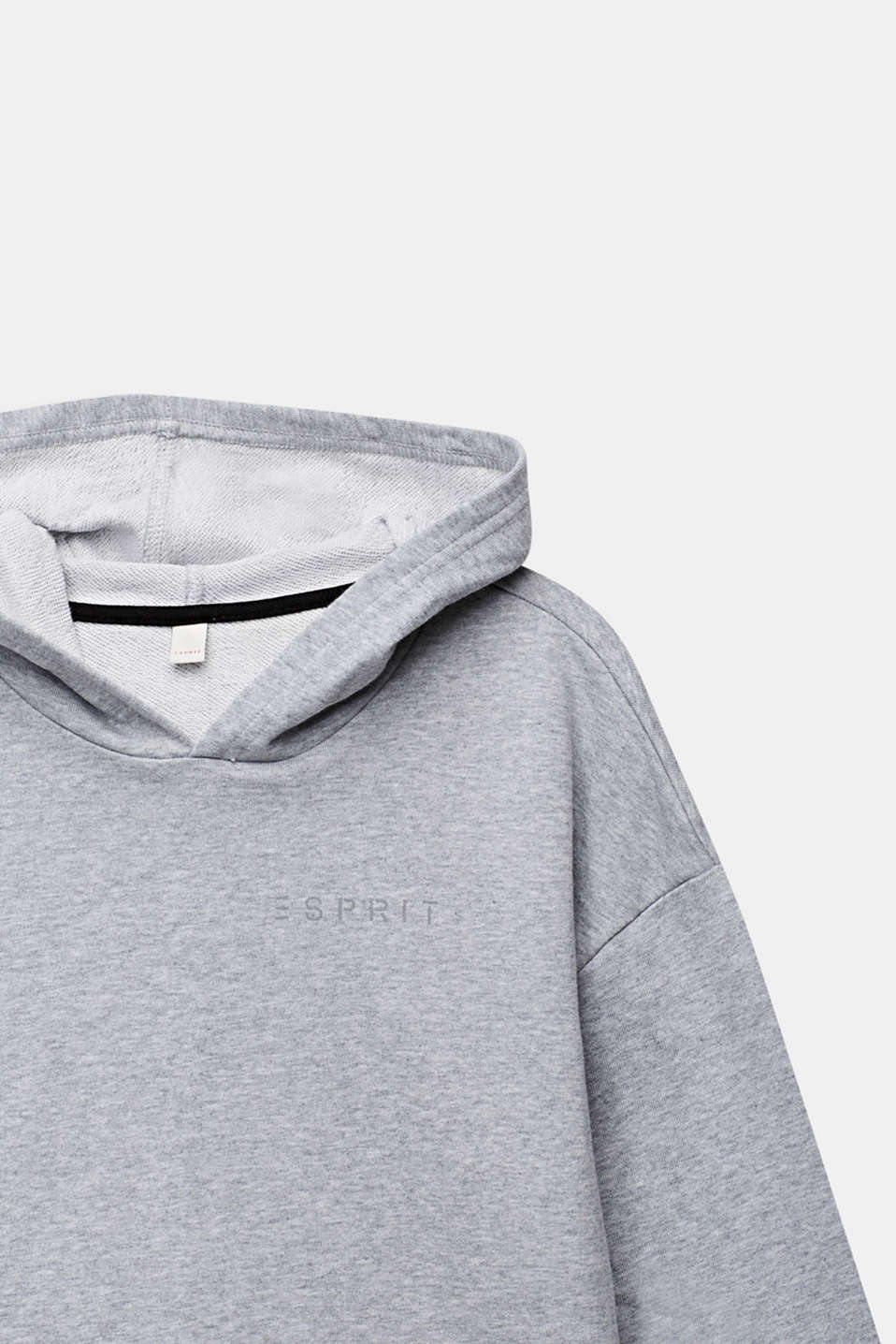 Sweatshirt hoodie, 100% cotton, LCHEATHER SILVER, detail image number 2