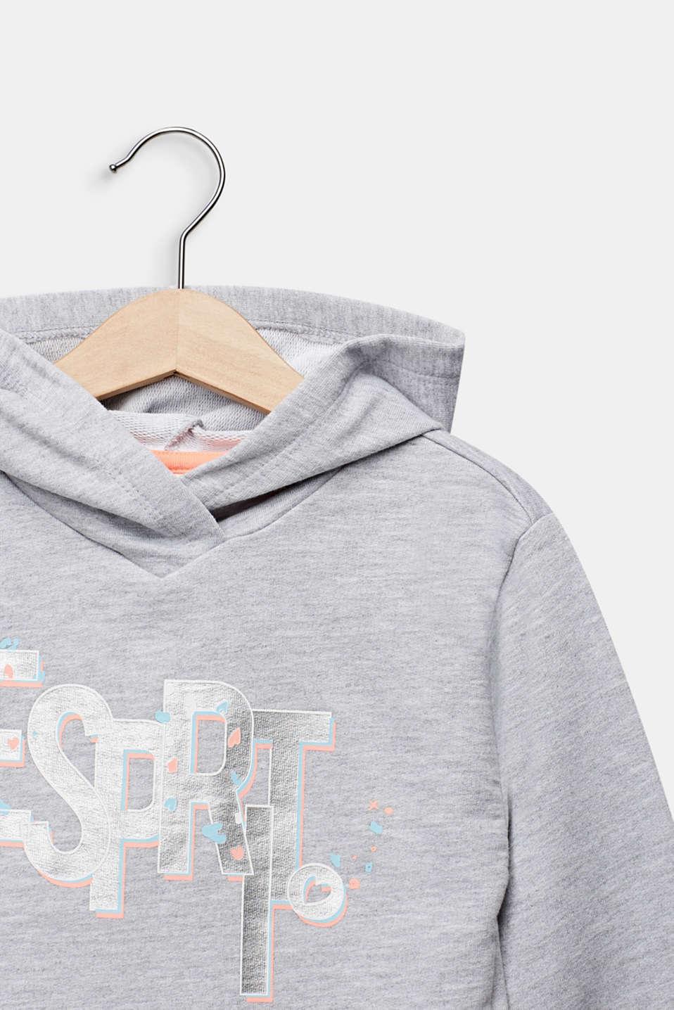 Logo sweatshirt hoodie, 100% cotton, HEATHER SILVER, detail image number 2