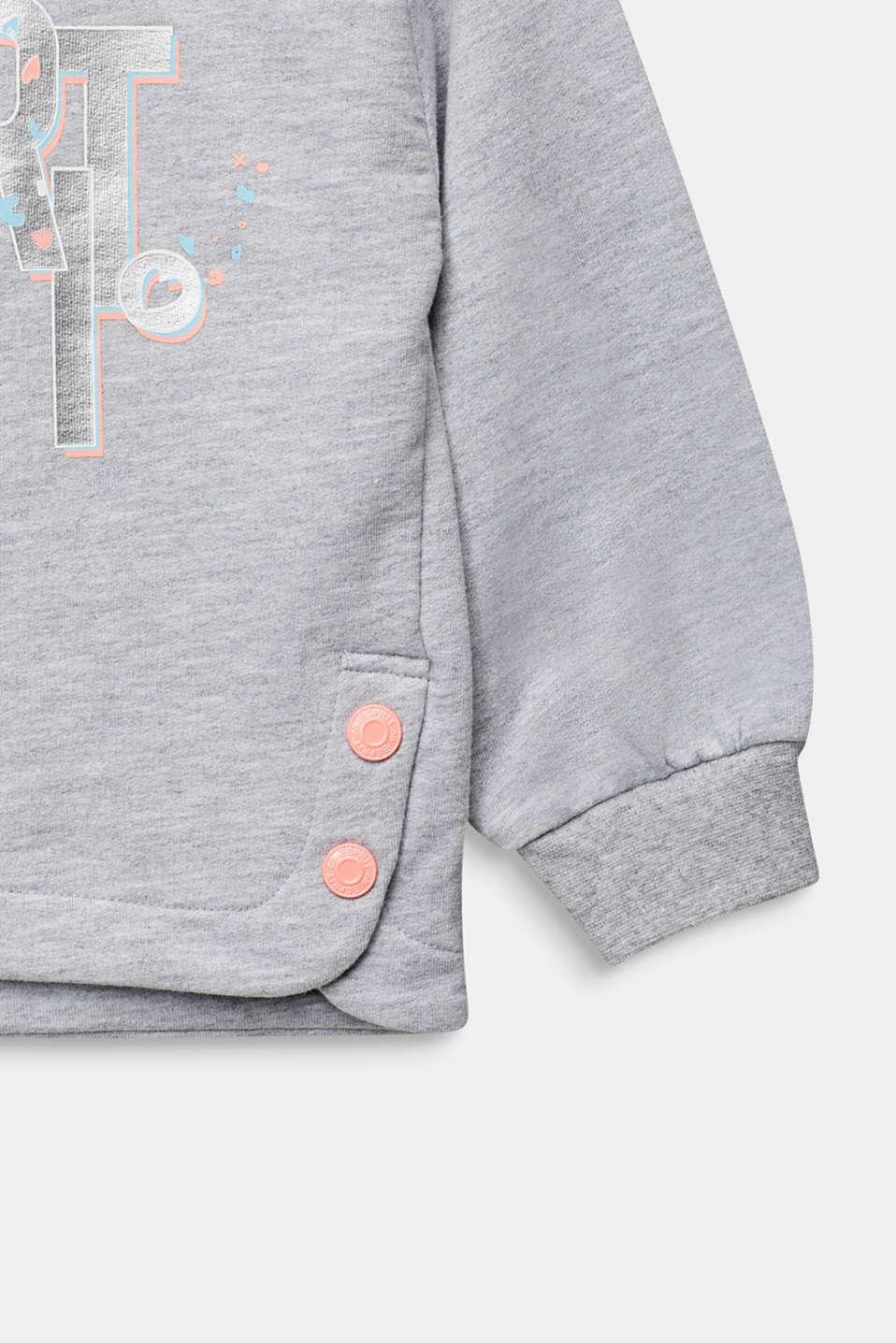 Logo sweatshirt hoodie, 100% cotton, HEATHER SILVER, detail image number 3