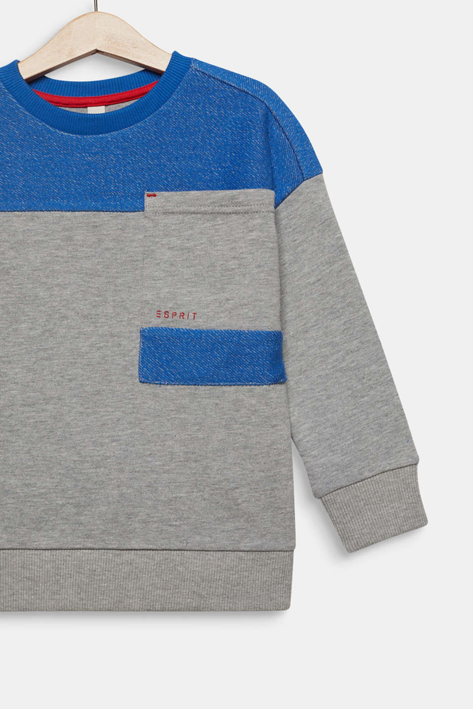 Colour block sweatshirt with a pocket, MID HEATHER GR, detail image number 2