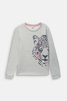 Sweatshirt with a leopard print, LCHEATHER SILVER, detail