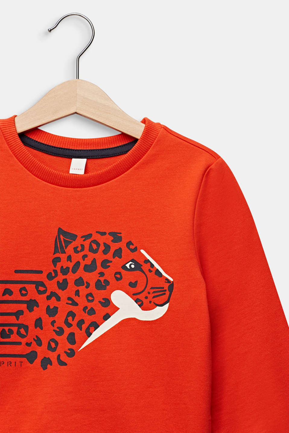 Sweatshirt with a leopard print, TANGERINE, detail image number 2
