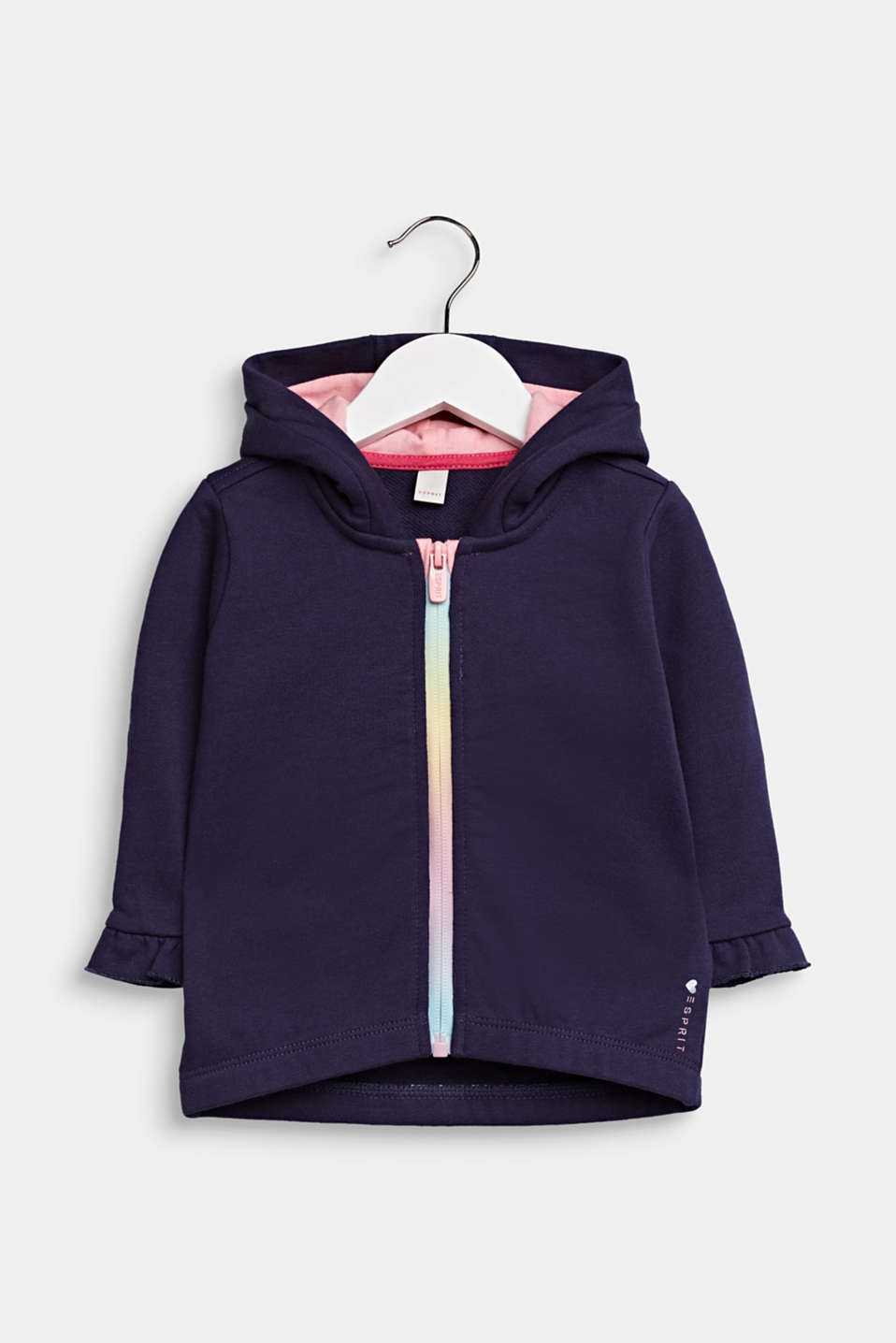 Sweatshirt cardigan with hood, 100% cotton, LCMIDNIGHT BLUE, detail image number 0