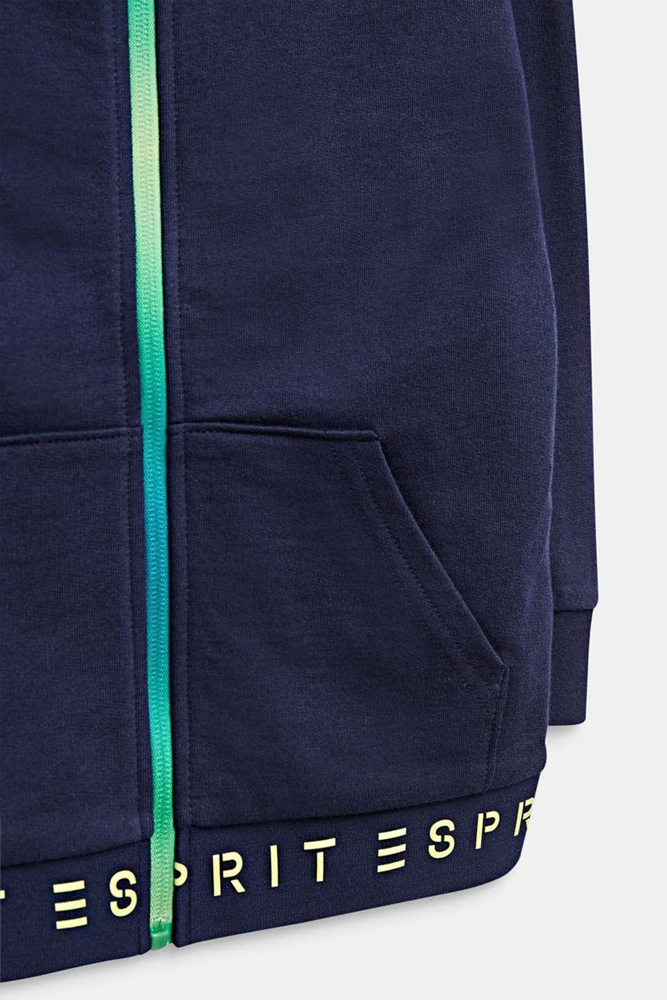 Sweatshirt fabric cardigan with logo ties, 100% cotton, MIDNIGHT BLUE, detail image number 2