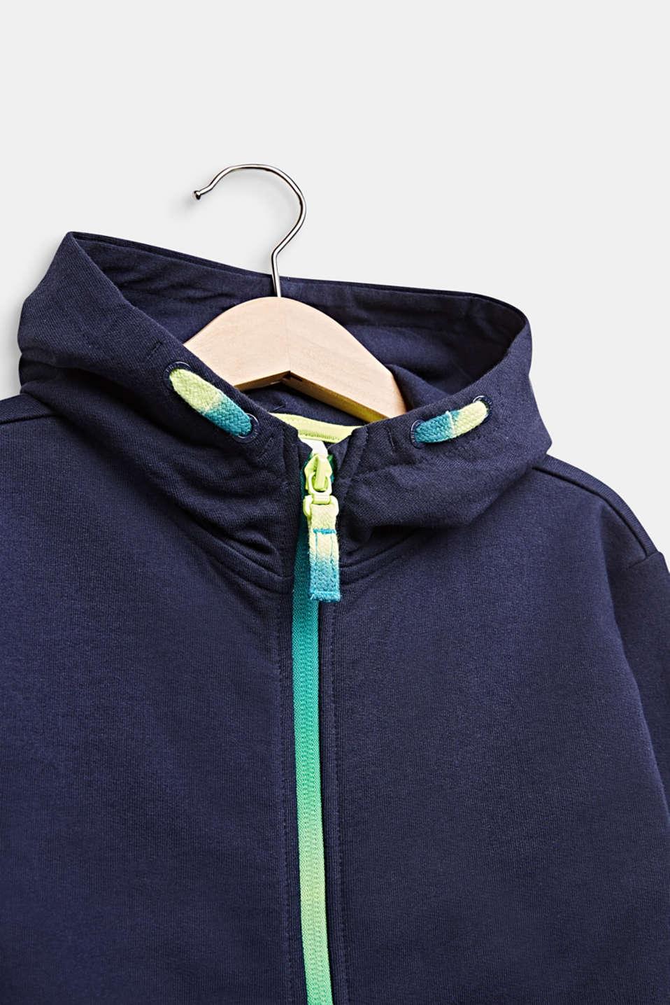 Sweatshirt fabric cardigan with logo ties, 100% cotton, MIDNIGHT BLUE, detail image number 4